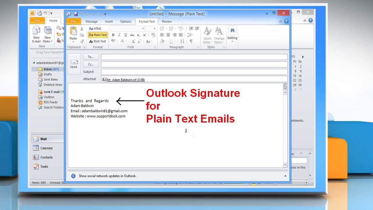 create microsoft u00ae outlook 2010 signature for plain text