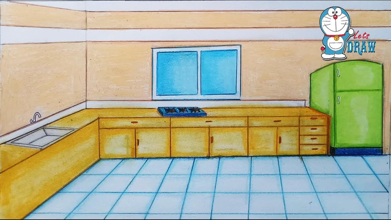 How To Draw Kitchen Step By Step Youtube