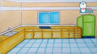 How to draw kitchen step by step