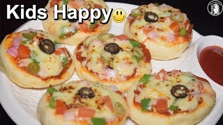 Mini Pizza on Tawa - Without Oven Vegetable Mini Pizza for Kids - Quick and Easy Pizza Recipe