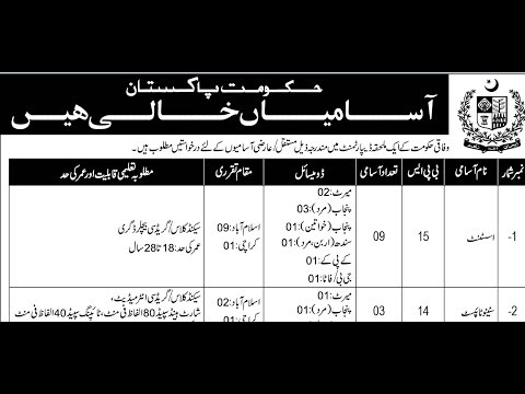 Federal Government Organization Jobs 2018 for Punjab/Sindh/KPK/FATA/AJK Last Date 25 December