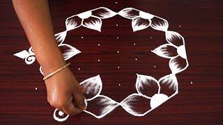 Beautiful simple rangoli designs | flower kolam designs with 9x5 dots | traditional muggulu