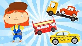 Çocuklar için taşıma öğrenin. Derleme animasyon. Aile bir karikatür.
