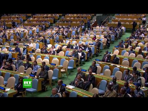 Emmanuel Macron est à la tribune lors de la 73e session de l'Assemblée générale de l'ONU