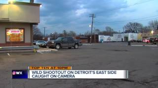 Wild shootout on Detroit's east side caught on camera