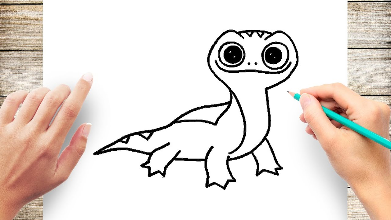 How To Draw Frozen 2 Bruni The Salamander Step By Step Youtube