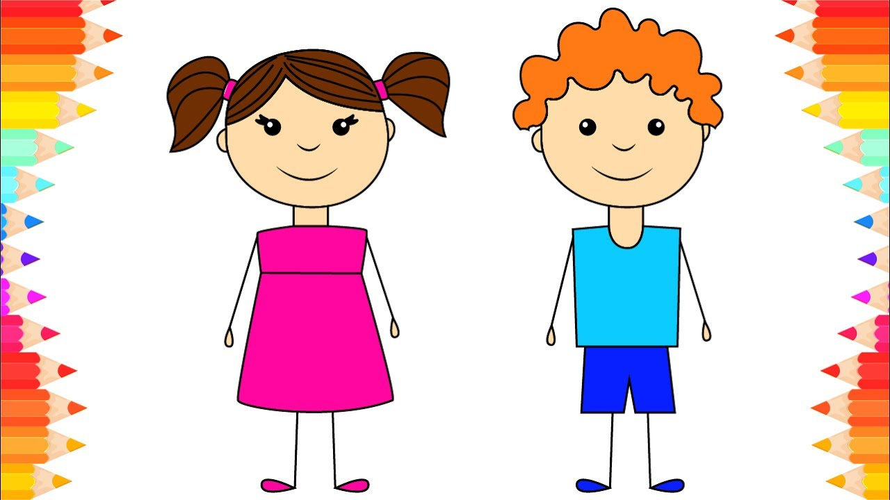 How To Draw Boy And Girl For Kids. DIY Coloring Pages For
