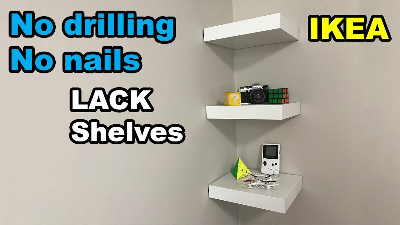 ikea lack shelf no drilling no nails on wall youtube