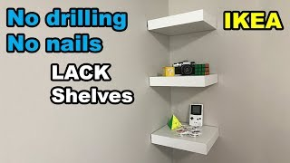 ✅  IKEA Lack shelf no drilling no nails on wall