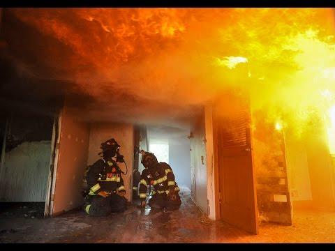 Inside a burning house