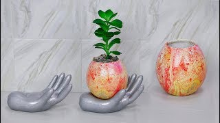 Cement Craft Idea - Unique idea // Flower vase making // Tree pot ideas