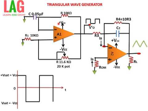 TRIANGULAR WAVE GENERATOR USING OP AMP(हिन्दी )!LEARN AND GROW