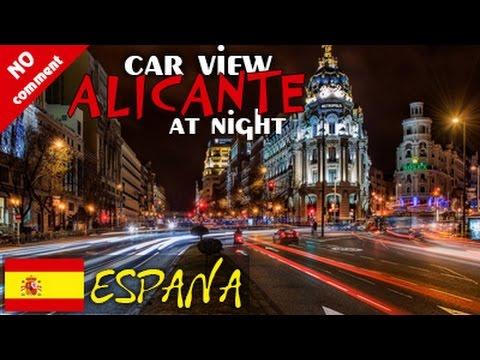 Alicante, Spain. Night city trip. Car view