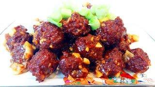 Китайская кухня.  Мясные шарики в кисло-сладком соусе  糖醋小丸子 mp4