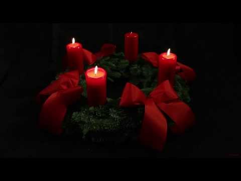 3rd Advent Wreath - German Adventskranz - with three candles lit for the third Sunday of Advent
