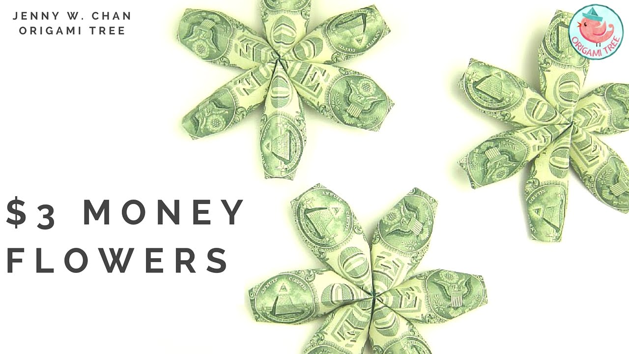 Papercraft DIY How to Fold $3 Flower - Money Dollar Origami - Paper Crafts