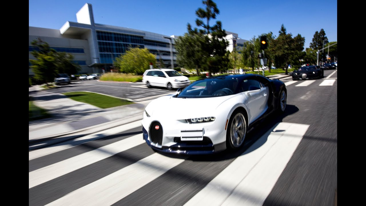 4 Bugatti Chiron driving in Los Angeles!  Start ups, revs, and flybys!