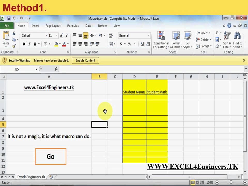 how to enable macros in excel  Enable macro in Excel 2010 - YouTube