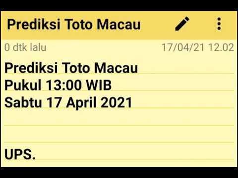 Prediksi Toto Macau pukul 13:00 WIB Sabtu 17 April 2021