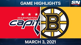 NHL Game Highlights | Capitals vs. Bruins - March 03, 2021
