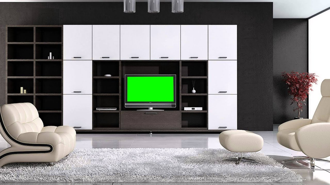 tv in living room in green screen free stock footage