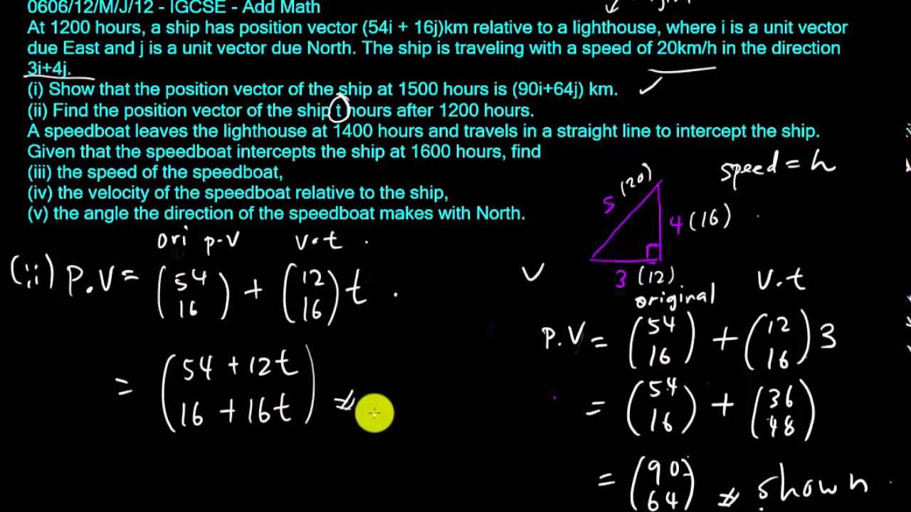 IGCSE - Add Math - Relative Velocity with vector 3
