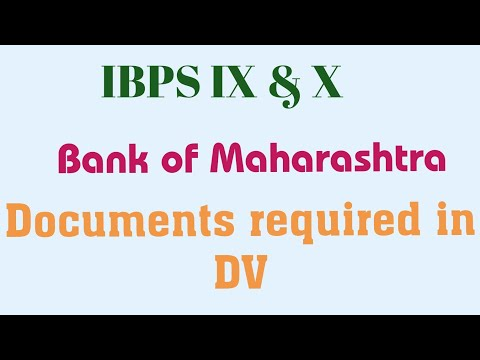 Documents required in Bank of Maharashtra DV