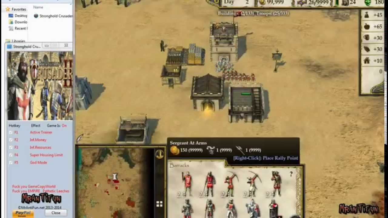 Stronghold Crusader Extreme Cheats for PC