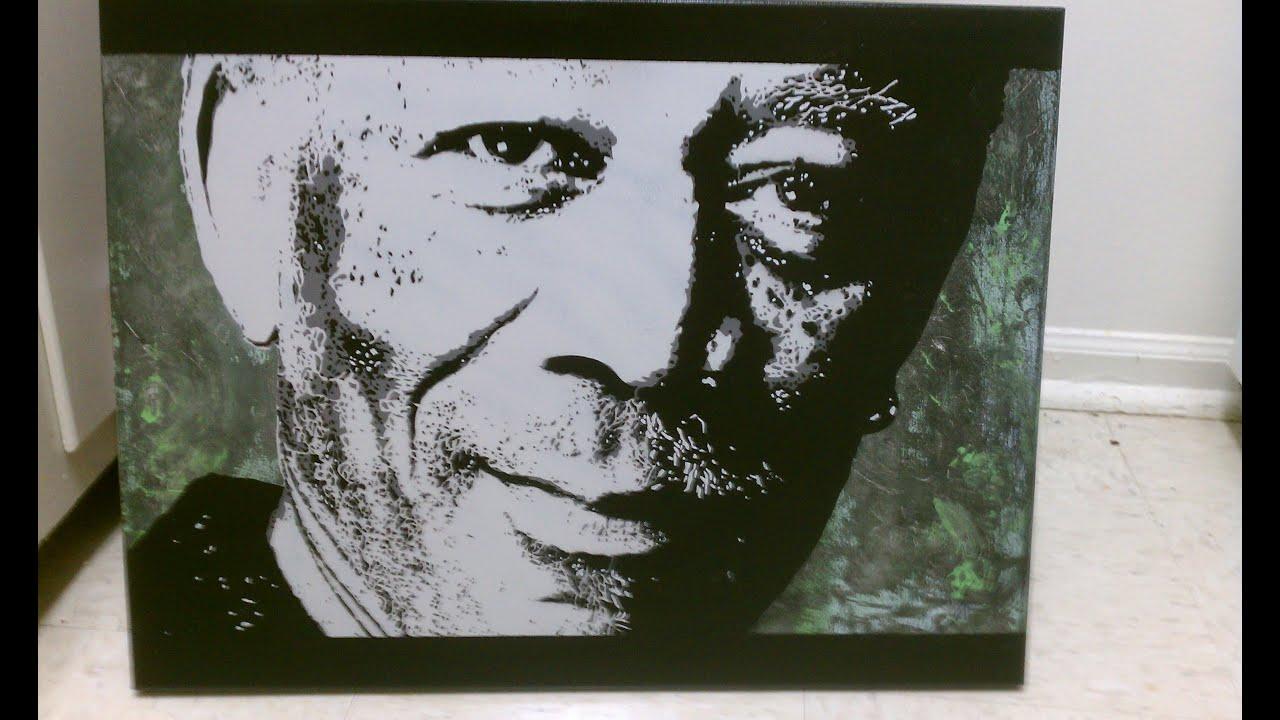 4 Layer Stencil Painting Of Morgan Freeman X2 Youtube