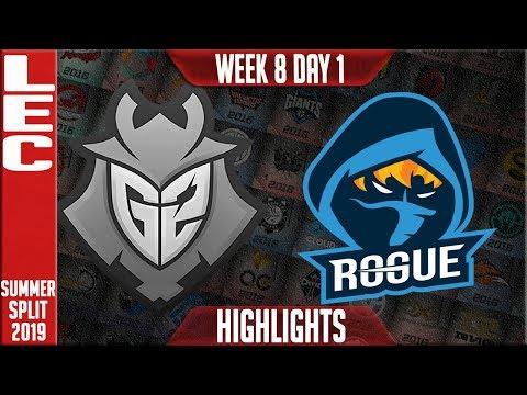 G2 vs RGE Highlights | LEC Summer 2019 Week 8 Day 1 | G2 Esports vs Rogue