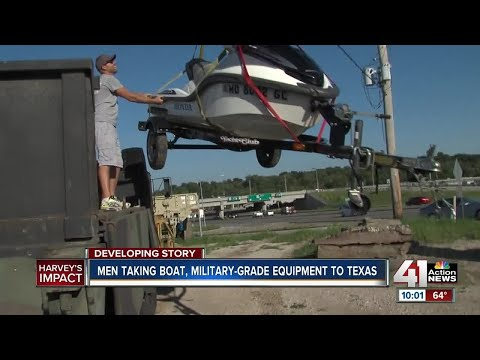 Men taking boat, military-grade equipment to texas