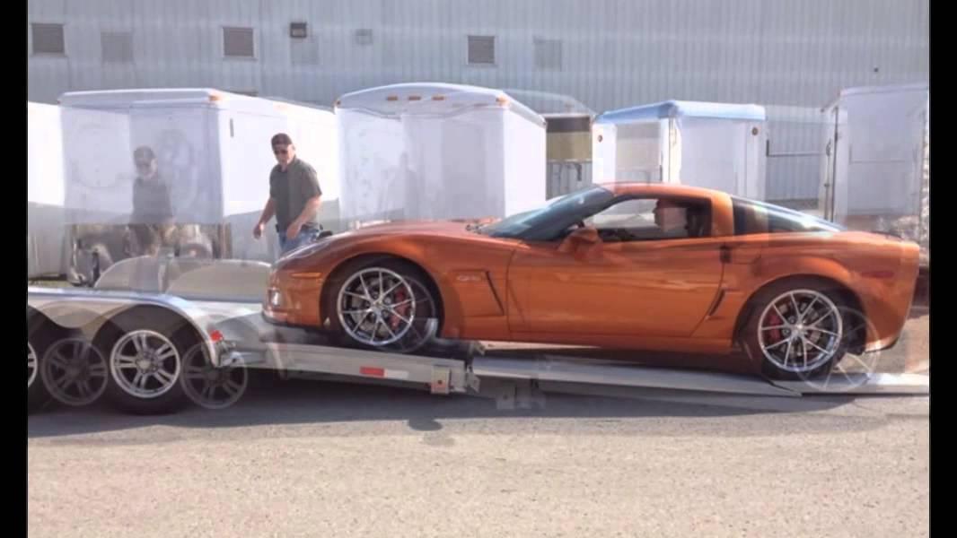 Loading a Z06 Corvette on Trailer World's Open Aluminum ...