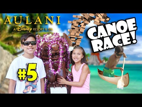 CANOE RACE - EVAN DESTROYS OUR BOAT!!! Disney's Aulani, Pearl Harbor, Jenga, Scavenger Hunt & Moana!