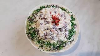 Быстрый салат с фасолью и крабовыми палочками. Салаты на Новый год.