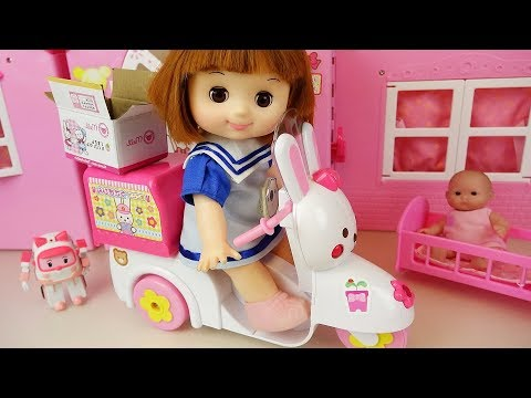 Thumbnail: Delivery Bike baby doll car toys surprise eggs baby doli play