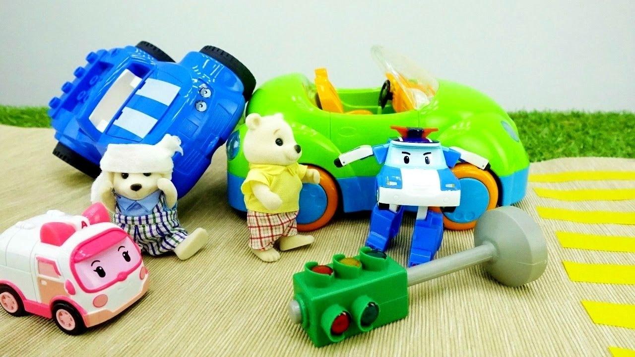 Le macchine sulla strada robocar poli e i suoi amici