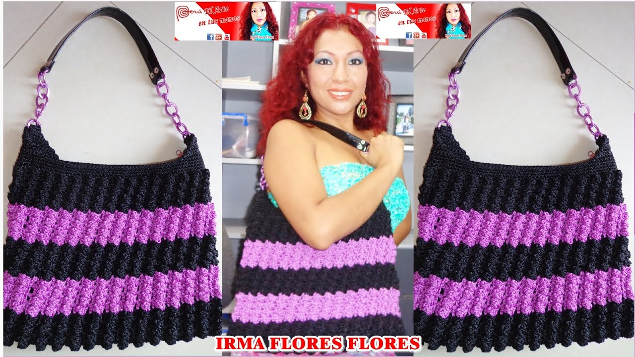 Bolso cartera en dos colores tejido a crochet paso a - Como hacer bolsos tejidos ...