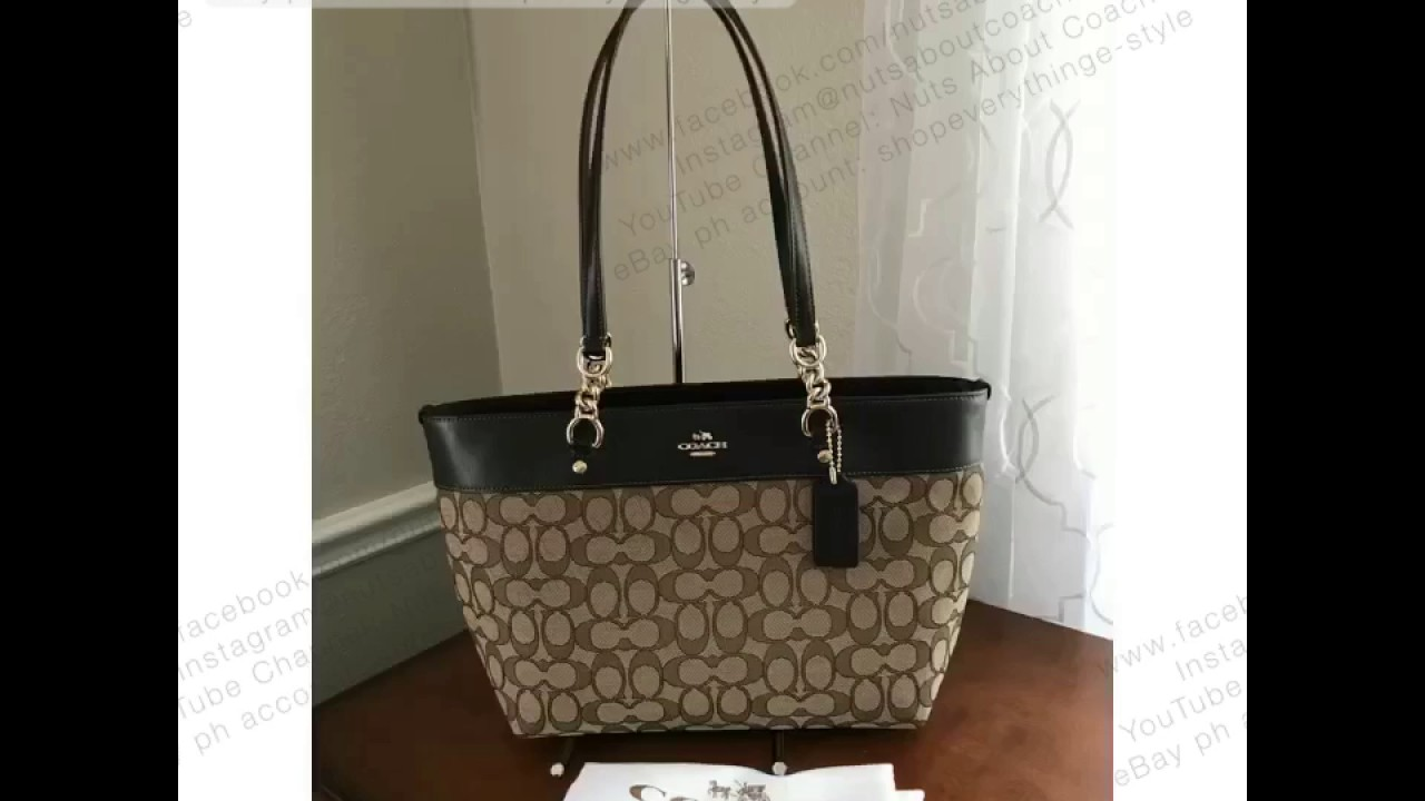 94751e57ef73 COACH SOPHIA SMALL TOTE IN SIGNATURE JACQUARD FABRIC  LEATHER - YouTube