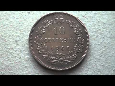 MONETE DA 1 - 2 - 5 - 10 CENTESIMI  DEGLI ANNI 1860.
