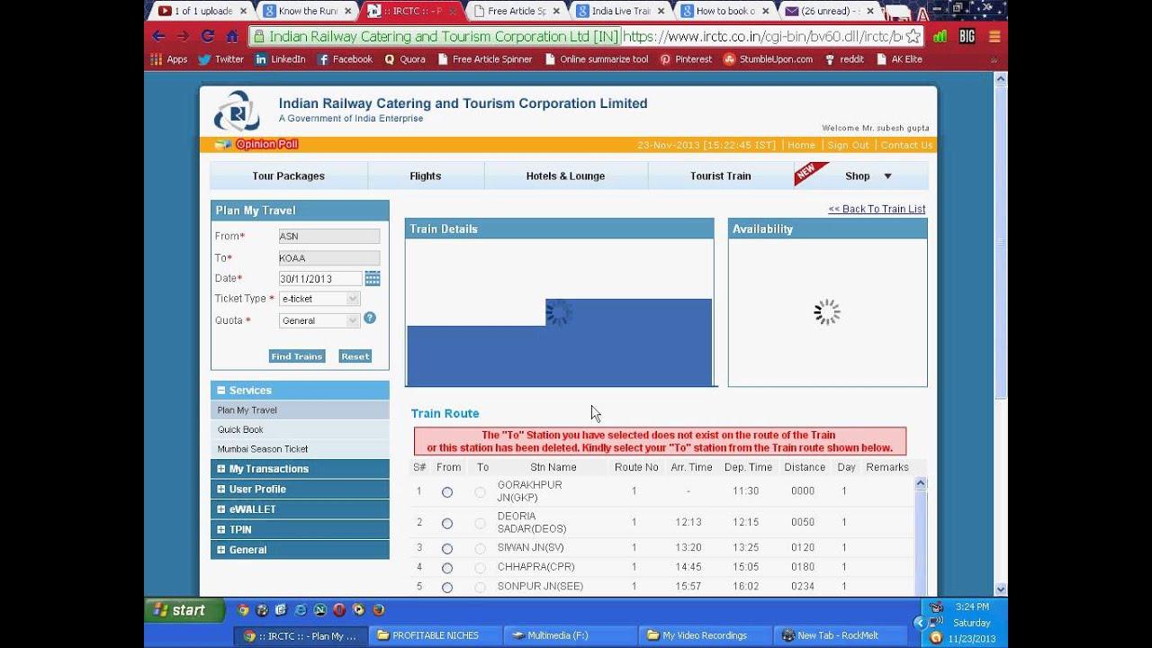How to book online railway ticket through IRCTC website -IRCTC co in