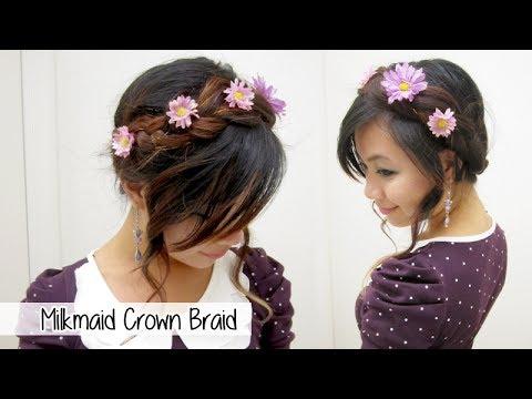 milkmaid crown braid  flower bun l quick cute  easy