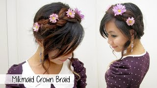 Milkmaid Crown Braid & Flower Bun l Quick Cute & Easy Hairstyles