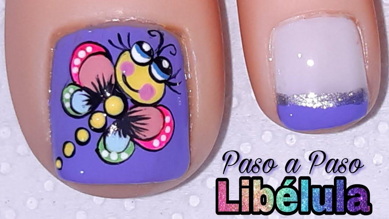 Decoración de UÑAS para pie LIBÉLULA/Diseño de uñas pie ...