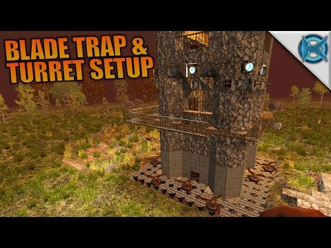 BLADE TRAP & TURRET SETUP | 7 Days to Die | Let's Play Gameplay Alpha 16 | S16.4E24