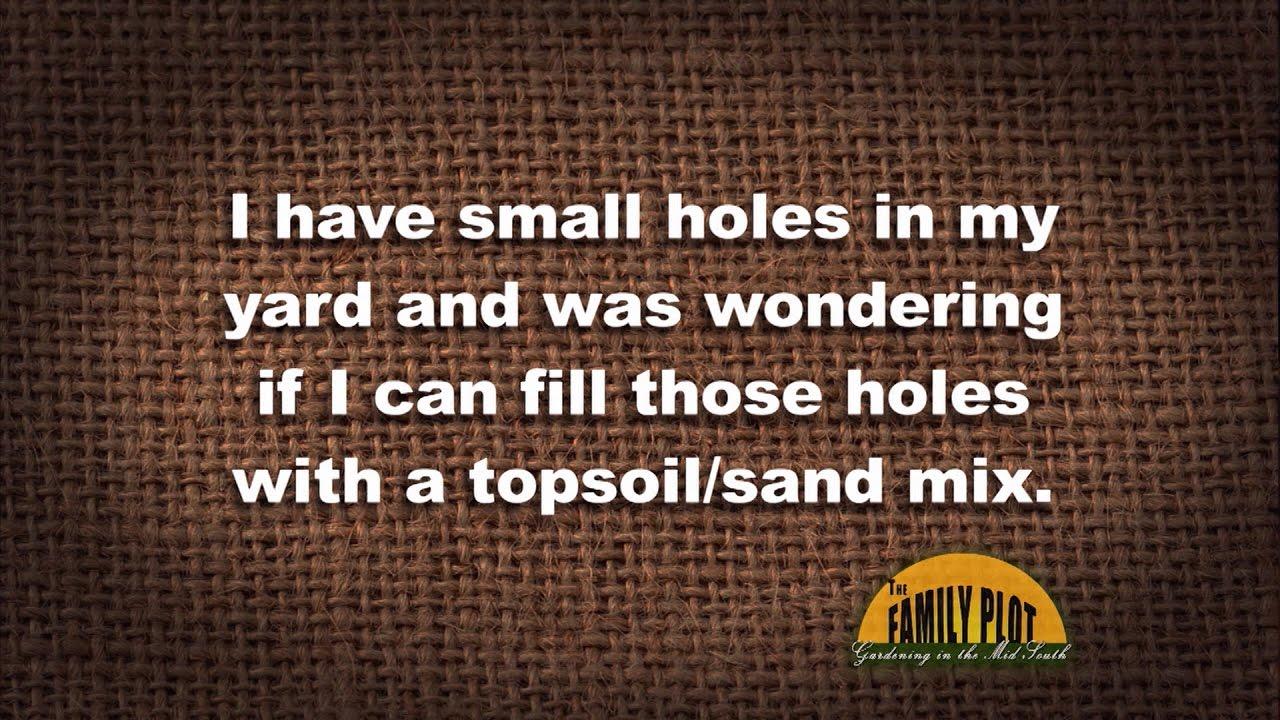 q u0026a u2013 can i fill holes in my yard with a sand topsoil mix youtube