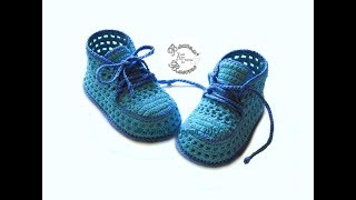 Кеды пинетки летние крючком //Sneakers booties crochet summer//