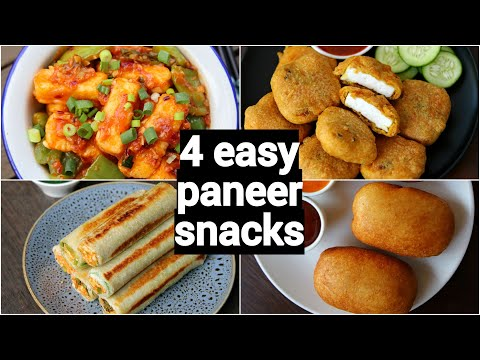 4 easy paneer snacks recipes | पनीर नाश्ते रेसिपी | kids snack with paneer |  paneer starter recipes