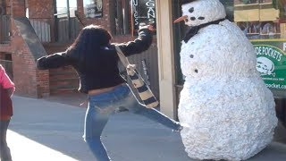 Best Of the Funny Snowman Hidden Camera Practical Joke Compilation 2013