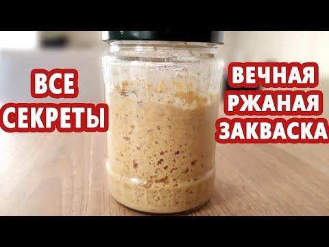 ВСЕ о ржаной закваске! Как вывести, кормить и хранить вечную закваску! Закваска из холодильника!