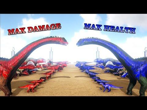 All Creatures (max damage) VS All Creatures (max health) | ARK Dinosaurs | Cantex thumbnail